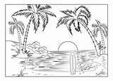 Coloring Landscape Adult Printable Nature Sunset Adults Surfboard Scenery Colouring Sheets Florida Colors sketch template