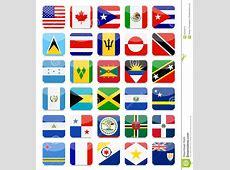 Das Amerika Und Die Karibische Flaggenflache Quadratische