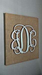 glittery white wooden script monogram on burlap canvas With wooden letters on canvas