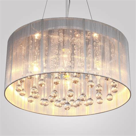 large drum shade chandelier with crystals home design