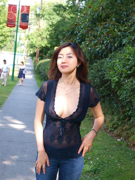 amateur asian milf in see thru clothing in public in