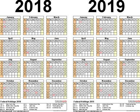2018 2019 academic calendar template 2018 2019 calendar free printable two year word calendars