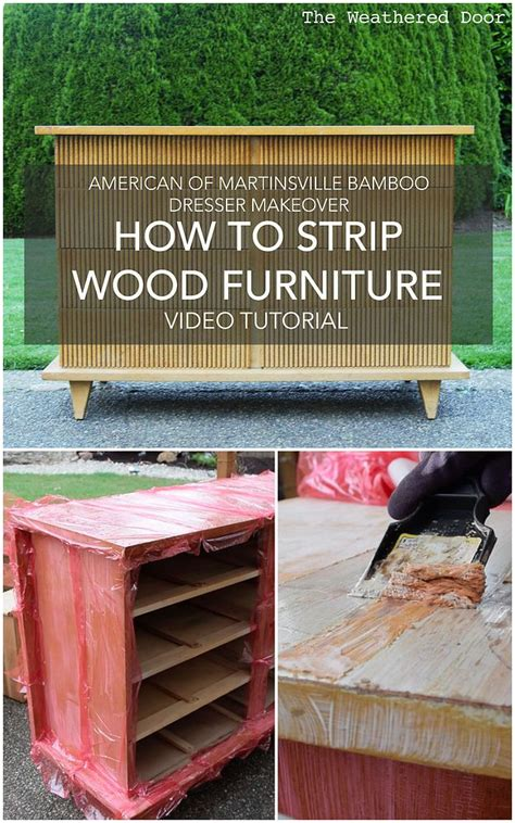 strip painted  stained wood furniture diy video