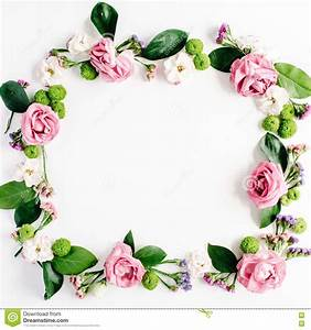 Floral Frame Of Pink Roses, Buds And Petals On White ...