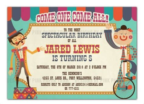 FREE 14+ Circus Party Invitation Templates in PSD EPS