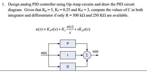 Solved Design Analog Pid Controller Using Amp Circuits
