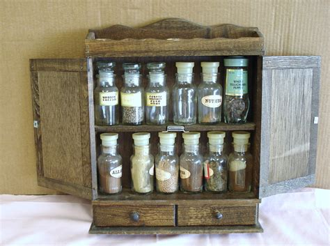 vintage wooden country style wall mount spice rack