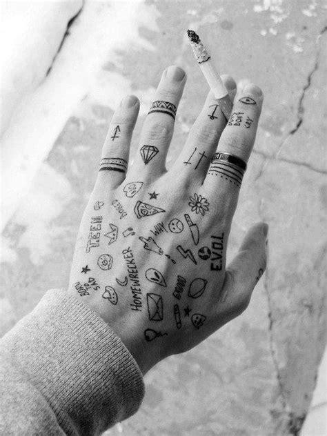 weird stick n poke | Hand tattoos for guys, Small hand