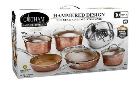 gotham steel hammered copper nonstick cookware sets wagjag