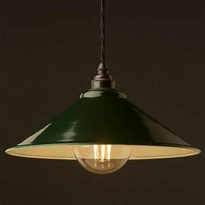Dark green steel light shade mm pendant