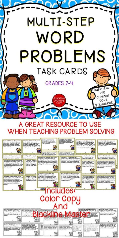 Math Task Cards  Multistep Word Problems  Words, Activities And Student