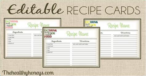 recipe card template real food recipe cards diy editable the healthy honeys