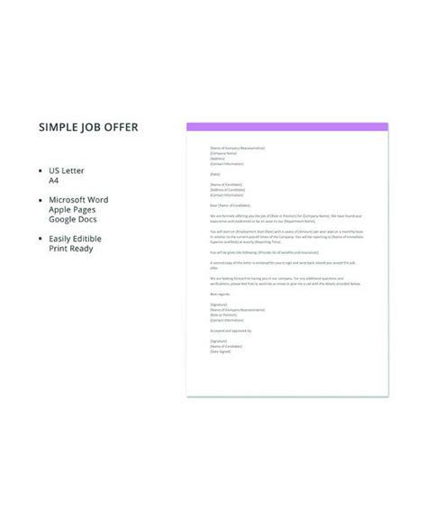 sample job offer letters   word apple