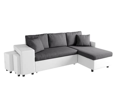 canap d angle convertible avec pouf canapé d 39 angle convertible en lit avec poufs oslo gris blanc