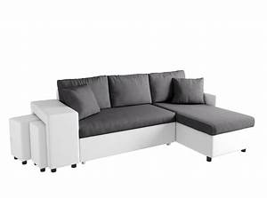 Canapé D Angle Gris Blanc : canap d 39 angle convertible en lit avec poufs oslo gris blanc ~ Teatrodelosmanantiales.com Idées de Décoration