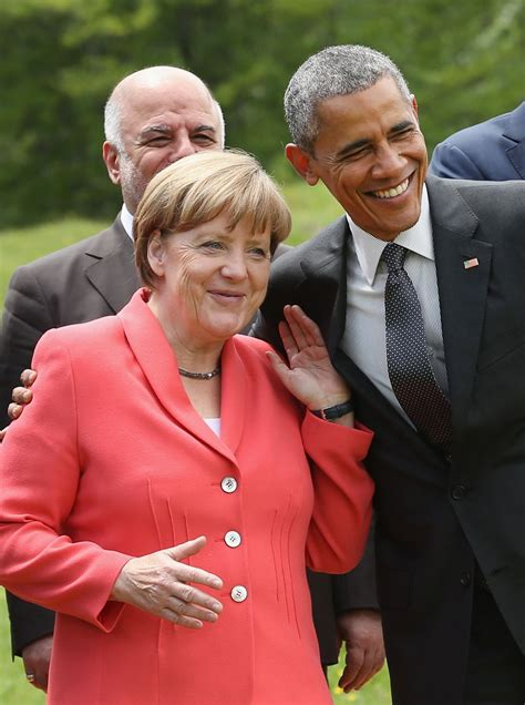 Ms merkel, who appeared to have inadvertently left her microphone on, could be heard talking as the prime minister was making his. Photos Show President Obama and Angela Merkel Will ...