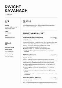 It Qa Analyst Resume Example  Template  Sample  Cv  Formal