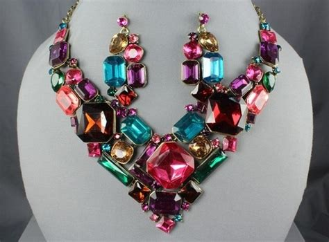 elegant multi color crystal chunky shapes gold bib