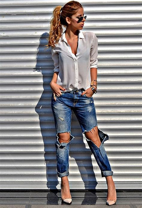 ways  wear ripped jeans   chic  elegant