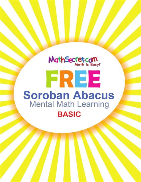 Soroban sheets involve some pictures that related each other. FREE Soroban Abacus Maths Secret workbook   Abacus math ...
