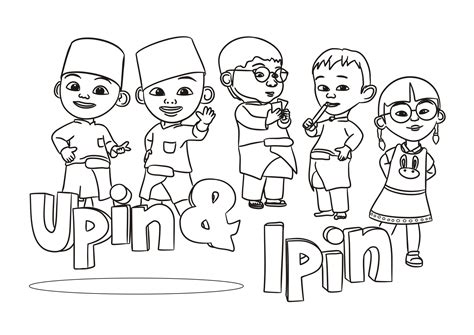 Upin Ipin Black And White Poster