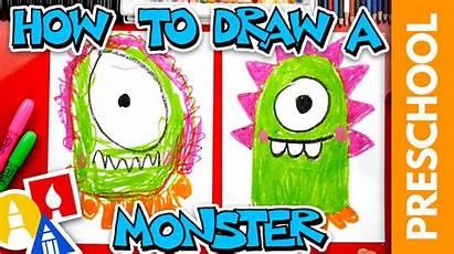 Monster Draw Preschool Funny Artforkidshub Hub Bizimtube