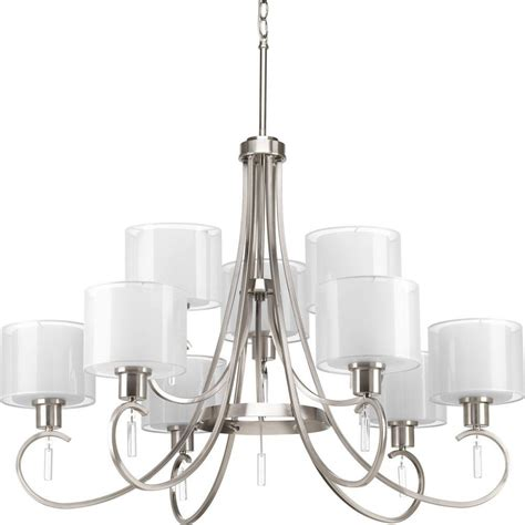 Chandeliers Lighting Collections by Progress Lighting Invite Collection 9 Light Brushed Nickel