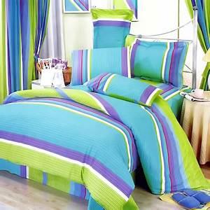 Lime Green Blue Purple Stripe Teen Girl Sheet Set Twin