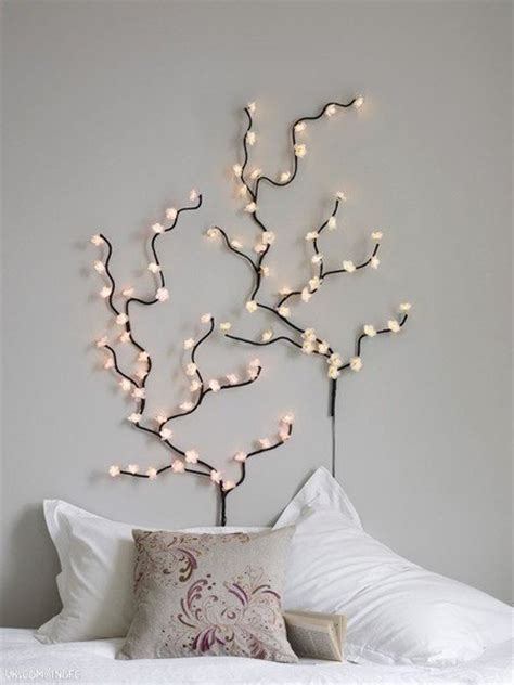 light tree on wall creative funny crazy home decor ideas modern interior