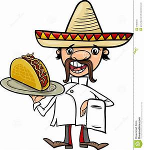 Mexican Chef With Taco Cartoon Illustration Stock Vector ...