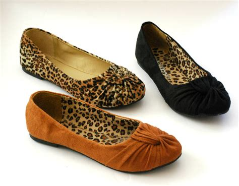 Ballet Flats Shoes : Women Ballet Flats Low Heel Animal Print Fux Suede Round