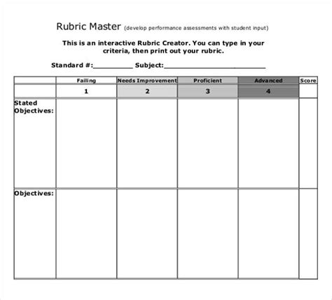 rubric template word rubric template 47 free word excel pdf format free premium templates