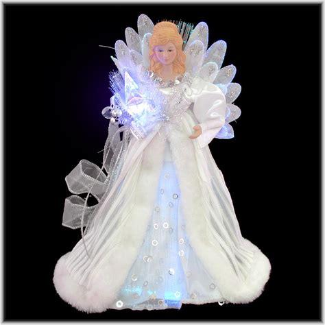 white  silver fiber optic angel tree topper