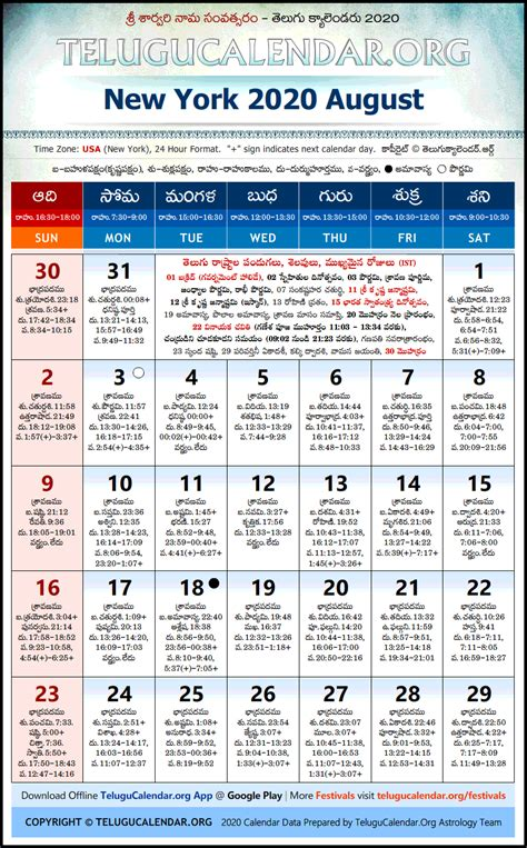 york telugu calendars  august festivals