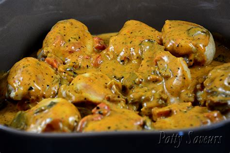 recette de cuisine cuisse de poulet patty saveurs cocotte de poulet sauce stroganoff