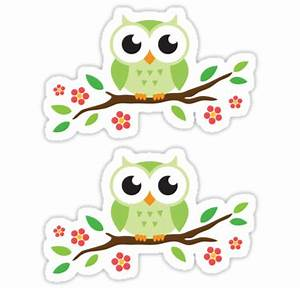 Cute green owls siting on tree branch with red flowers ...
