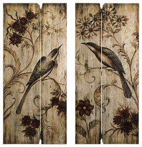 rustic wood bird wall decor set of 2 transitional With kitchen cabinets lowes with tree of life carved wooden wall art