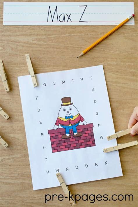 humpty dumpty nursery rhyme theme in preschool 987 | Printable Humpty Dumpty Uppercase Alphabet Matching Game