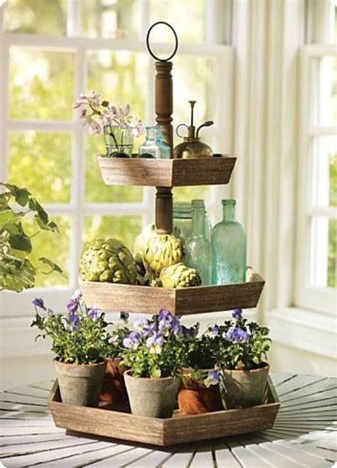 wood tiered display stand garden tiered stand  tier