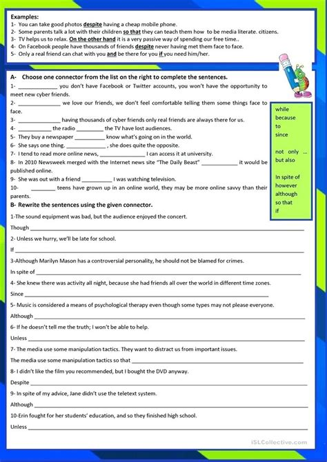 conjunction worksheets high school conjunction best free