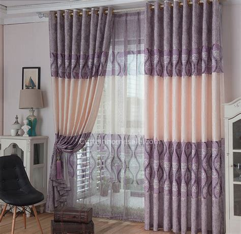 classic pattern bedroom curtains linen cotton light purple