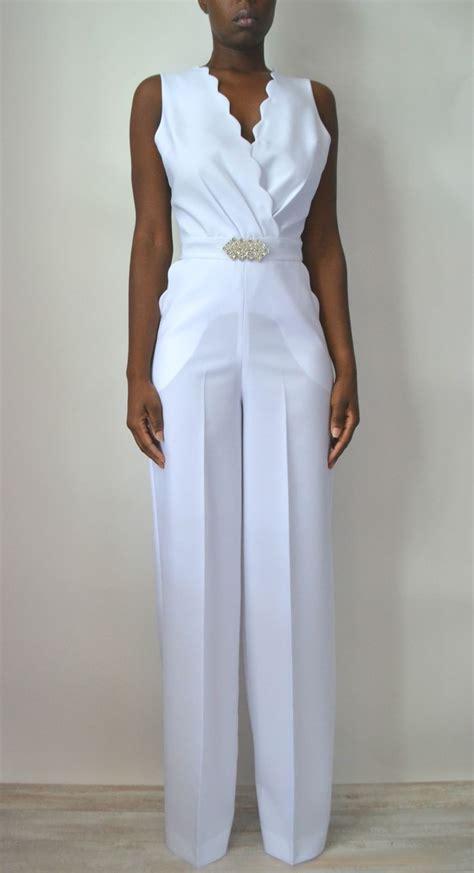 white jumpsuit for wedding scallop lace back bridal jumpsuit shop now
