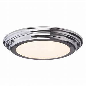 Ceiling light fitting flush : Sleek flush fitting led bathroom ceiling light chrome