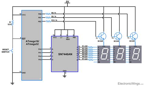 7 segment display interfacing with avr atmega16 atmega32 electronicwings