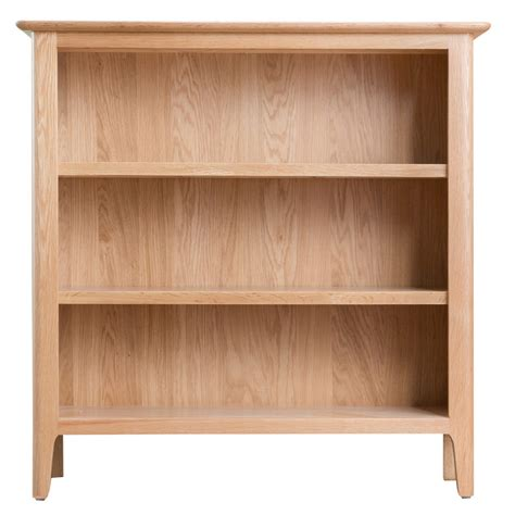 Assembled Bookcases by Cornsay Oak Small Wide Bookcase Fully Assembled Oak World