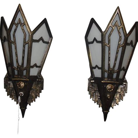 deco wall sconces bronze with glass panels from