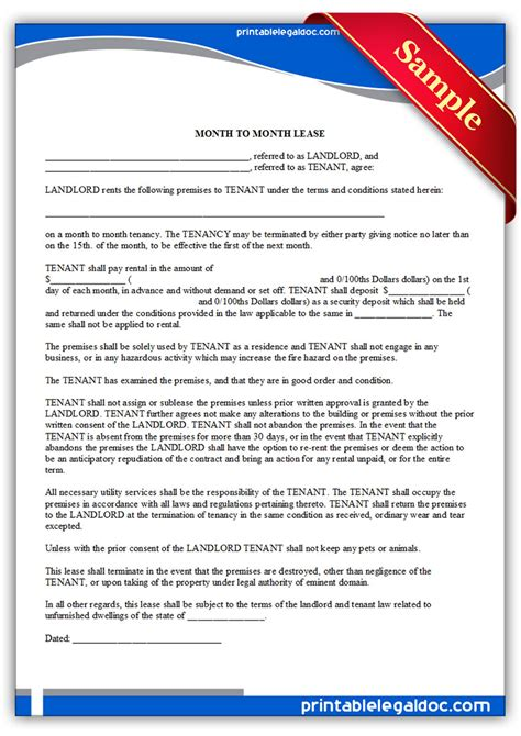 generic rental agreement form  printable