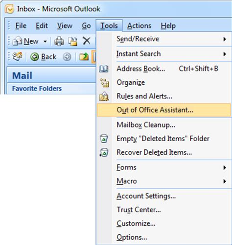 absence bureau outlook out of office assistant automatic replies howto outlook
