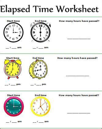 elapsed time worksheets  images time worksheets