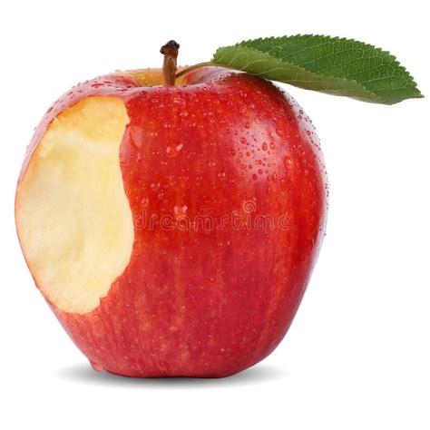 Bitten Red Apple Fruit Missing Bite Isolated Stock Image ...